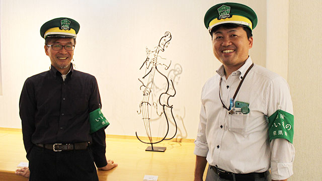 米子高島屋で8月3日〜9日まで開催された鉄筋彫刻展に木内キャプテンも応援に